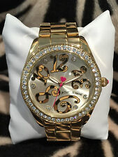 NWT Betsey Johnson Gold Boyfriend Watch Clear crystals w leopard animal print #s