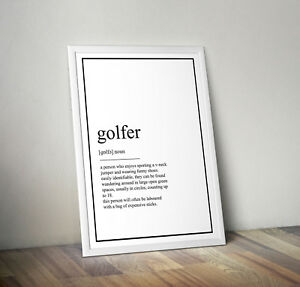 Golf definition, print, poster, Golfer, wall art, gift, party, picture, Quote