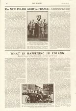 1918  ANTIQUE PRINT- WW1 -NEW POLISH ARMY IN FRANCE, WHAT IS HAPPENING IN POLAND