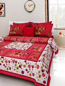 Traditional Sanganeri Cotton Hand Print Queen Size Bedsheet With 2 Pillow Case