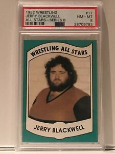 1982 Wrestling All Stars Jerry Blackwell PSA 8 AWA Body Slamming him Pays 5K
