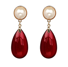 Red Opaque Resin & Pearl Water Drop Earrings Acrylic Stunning Blogger festive