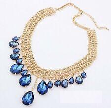 TearDrop Jewel Crystal Gold Tone Layered Bib Choker boho Statement Necklace N226