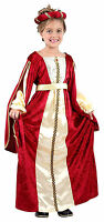 GIRLS LONG MEDIEVAL TUDOR LADY QUEEN RED GOLD FANCY DRESS UP COSTUME OUTFIT NEW