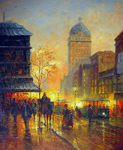 "Nice Oil painting impressionism Paris Street Scene in sunset city & horseman 36"""