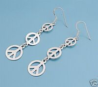 Triple Peace Sign Dangle Earrings Sterling Silver 925 Hippie Symbols Jewelry