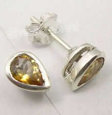 925 Silver YELLOW TINY DROP CITRINE LIGHTWEIGHT STUDS POST Earrings 0.8 CM NEW