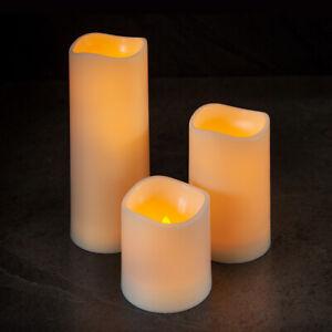 Outdoor Battery Power Flickering Flameless LED Pillar Candle Lights Garden Patio