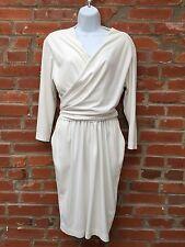 Vintage 80s Wrap Around Dress Womens White Tie Zip Front Pockets LS (852)