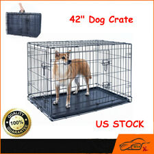 """42"""" Dog Crate Kennel Folding Pet Cage Metal 2 Door With Tray Black Us"""
