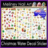 Christmas Water Decal Nail Art Sticker Snowman Santa Deer tree snow Cute Stencil
