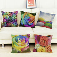 Colorful Rose Pillow Case Flax Throw Waist Cushion Cover Sofa Car Home Decor UK