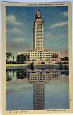 Louisiana State Capital Baton Rouge Postcard Louisiana LA Vintage Linen