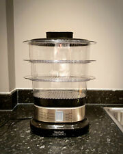 Tefal Mini Compact Steamer, 3 Dismantlable Tiers / Bowls, Stainless Steel, Black