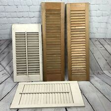 Vintage Wood Shutters 4 pc White Brown Wooden Interior Plantation Pair Shabby