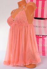 VS Victoria's Secret Lingerie Fly-away Tulle Babydoll Lace Unlined L Large Peach