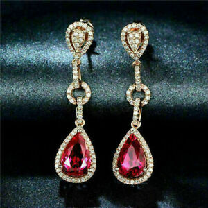 Delicate 4.40Ct Pear Cut Red Ruby Drop/Dangle Halo Earrings 14K Rose Gold Finish