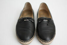 Prada Bow Logo Leather Cap Toe Espadrille Flats - Nero Black - 7.5US (S13)