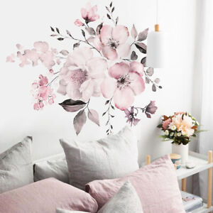 Removable Wall Stickers Watercolour Dusty Pink Flowers Leaves Home Decor AU