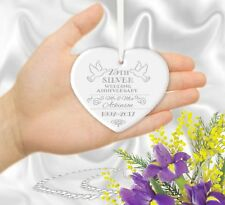 Personalised 25th 10th 16th 23rd Silver Wedding Anniversary Heart Gift Ornament