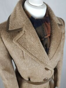 Vintage 70s Llama Pure Wool Coat Size 12-14 Leather Belted Boho Bohemian Tan
