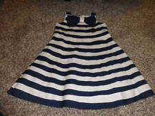 BISCOTTI 4T 4 NAVY BLUE AND WHITE STRIPED DRESS W BOW RHUMBA STYLE
