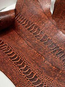 Ostrich Legs Skin Leather Tangerine (vintage) %100 Genuine Ostrich Leather
