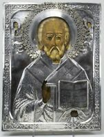 IKONWORLD: ANTIQUE 84 SILVER RUSSIAN HAND PAINTED ICON OF THE ST.NICHOLAS