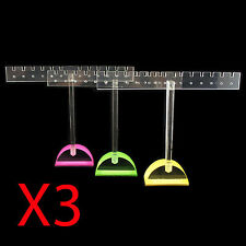 X3 white clear perspex T-bar earrings ear jewellery display stand holder