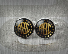 Personalized Cufflinks,Monogram,Cuffs button,Mens' Jewelry,Black and gold/silver