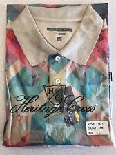 NEW L Heritage Cross Mosaic Euro Tech Golf Polo Shirt Poly NWT Tags Soft Silky