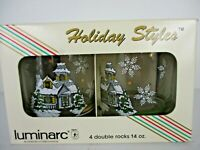 Vintage Luminarc Holiday Style Double Rock Glasses 14 oz. in original box