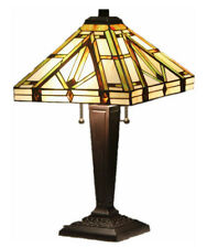 "Tiffany Style Stained Glass Mission Lamp ""Golden Mission"""