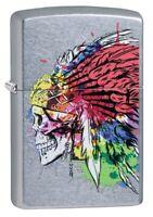 Zippo Skull with Headdress Design Street Chrome Windproof Pocket Lighter, 49111