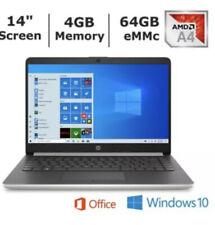 "HP 14"" Notebook Laptop AMD A4-9125 Dual-Core 4GB RAM 64GB WIN10 OFFICE"