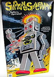 TIN TOY SMOKING SPACEMAN BATTERY OPERATED ROBOT RETRO