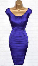 COAST Exquisite Blue Satin Wiggle Cocktail Dress UK 18  Occasion Wedding Party