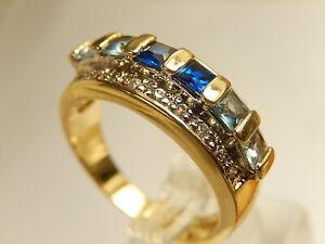 Camrose & Kross Sapphire BLUE SPINEL RING White Topaz Sterling Gold Vermiel Sz 8