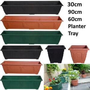 Sturdy Planter Long Window Box Plastic Pot Broad Base Flower Plant OutdoorGarden
