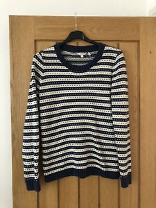 Ladies Fat Face Navy And Cream Striped Patterned Cotton Jumper Size 12