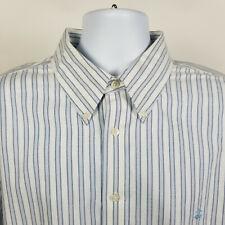 Brooks Brothers Non Iron Blue White Striped Oxford Mens Dress Button Shirt XL
