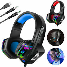 Gaming Headset Headphones W/Mic Stereo Sound Glaring LED For PS4 Xbox One S PC