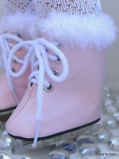 """**SALE** PINK Doll ICE SKATES w/ Faux Fur Trim SHOES fits 18"""" AMERICAN GIRL DOLL"""