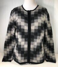 Talbots Womens Cardigan Sweater Black Geometric Full Zip Long Sleeve Petites S