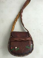 Vintage Southwestern Leather Handbag Hand Painted Tooled Purse Satchel