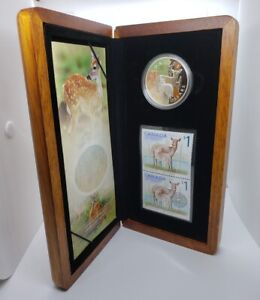 Canada 2005 $5 Silver Proof  White Tail Deer & Fawn 1 oz .9999 Coin & Stamp Set