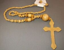 Christian Pendant Necklace & Earrings Set LARGE CROSS Beads NATURAL FINISH Gift!