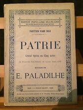 Paladilhe Patrie opéra partition réduction piano seul édition populaire Choudens