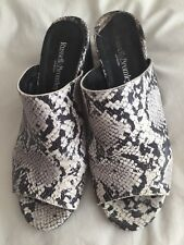Russell & Bromley Black/Grey Snake Print Mules Size 5