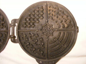 > Rare Jos Simpson Columbus Ohio  Waffle Iron  must see all the photos cast iron